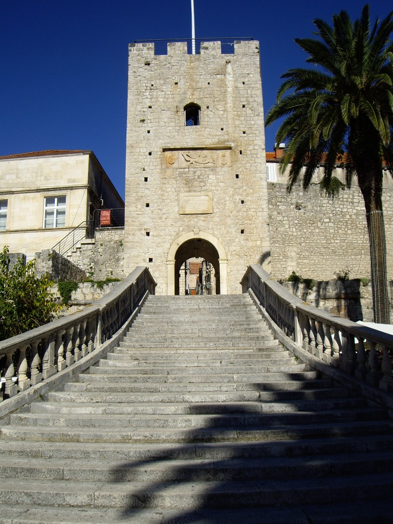 Entrance to the historical Old Town of Korcula, Korcula Island