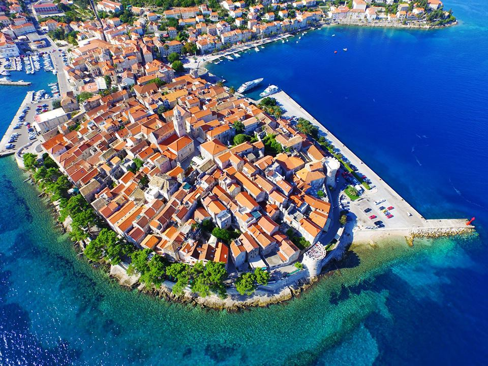 Aerial photo of Korcula Old Town